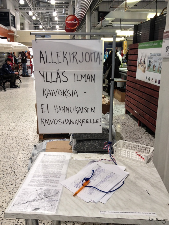 """Local commerce opposes the mine. Jouni famous from """"Ylläs - huipulla tulee"""" opposes encourages people to stand against the threat."""